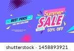 summer ad sale banner in pop... | Shutterstock .eps vector #1458893921
