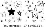 set of hand drawn stars. doodle ... | Shutterstock .eps vector #1458901814