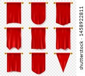 red pennant. 3d realistic... | Shutterstock .eps vector #1458922811