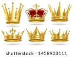 realistic golden crowns. king ... | Shutterstock .eps vector #1458923111