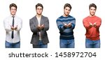 collage of young handsome... | Shutterstock . vector #1458972704
