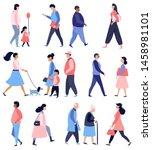 street walking people ... | Shutterstock .eps vector #1458981101