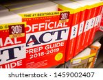 Small photo of Santa Ana, California/United States - 06/08/19: At the bookstore, there are several books to help you with studying the ACT test