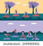 yoga park outdoor women doing... | Shutterstock .eps vector #1459005431