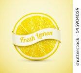 fresh lemon with ribbon eps10 vector illustration