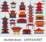A Set Of Chinese Buildings And...
