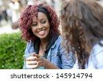portrait of two women taking a... | Shutterstock . vector #145914794