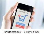 men hand holding modern mobile... | Shutterstock . vector #145915421