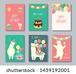set of happy birthday cards...   Shutterstock .eps vector #1459192001
