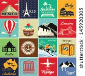 set of vintage retro vacation... | Shutterstock .eps vector #145920305