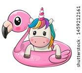 cute cartoon unicorn swimming... | Shutterstock .eps vector #1459212161