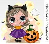 Cute Halloween Card With Girl...