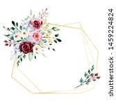 floral gold frame border with... | Shutterstock . vector #1459224824