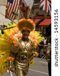 NEW YORK - JUNE 29: A Brazilian parade-goer participates in the Pride Parade June 29, 2008 in New York City. - stock photo