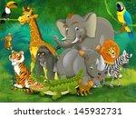 cartoon tropic or safari  ... | Shutterstock . vector #145932731