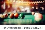 Colorful billiard balls on a...