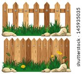 Wooden fence and grass. Vector illustration. - stock vector