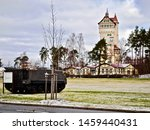 Grafenwoehr Training Area (Tower Barracks) in Grafenwöhr, Germany. Home of 7th Army Joint Multinational Training Command (JMTC) and US Army Garrison (USAG) Bavaria. Historic Water tower survived WWII.