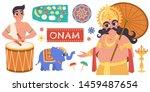 happy onam flat design with... | Shutterstock .eps vector #1459487654