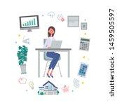 illustration vector of woman... | Shutterstock .eps vector #1459505597