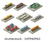vector isometric railroad cargo ... | Shutterstock .eps vector #145960961