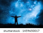 alone man watching the stars in ... | Shutterstock . vector #1459650017