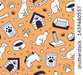Stock vector pet shop vector seamless pattern with flat line icons of dog house cat food food bowl puppy toys 1459680557