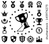 trophy and awards icons set | Shutterstock .eps vector #145974275