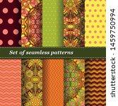 set of trendy seamless floral... | Shutterstock .eps vector #1459750994