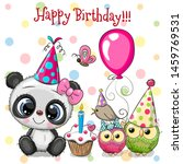birthday card with cute panda... | Shutterstock .eps vector #1459769531