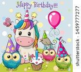 birthday card with cute unicorn ... | Shutterstock .eps vector #1459777277