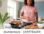 Small photo of Woman Preparing Batch Of Healthy Meals At Home In Kitchen