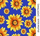 dahlia flower seamless pattern... | Shutterstock . vector #145979441