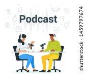 podcast in studio flat vector... | Shutterstock .eps vector #1459797674