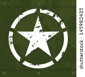 White Army Star On Green Metal...