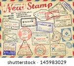 passport stamps collection | Shutterstock .eps vector #145983029