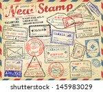 new post stamp. passport stamps | Shutterstock .eps vector #145983029