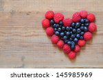 heart made from raspberry and... | Shutterstock . vector #145985969