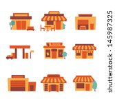 retro shop icons | Shutterstock .eps vector #145987325