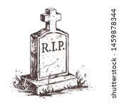 old murble stone tombstone with ... | Shutterstock .eps vector #1459878344