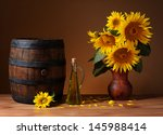 Sunflowers In Ceramic Vase On ...