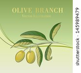 two olives on branch. vector... | Shutterstock .eps vector #145989479