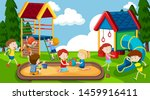 active boys and girls playing... | Shutterstock .eps vector #1459916411