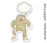 Stock photo cartoon bigfoot with thought bubble as a distressed worn sticker 1459977134