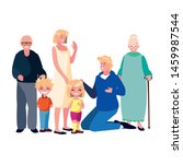 family parents kids group people | Shutterstock .eps vector #1459987544