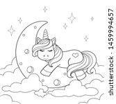 Cute Cartoon Unicorn Sleeping...