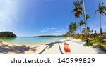 tropical beach panorama with... | Shutterstock . vector #145999829