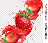 strawberry fruit in splashing... | Shutterstock .eps vector #1460002847