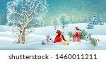 christmas winter scene. vector... | Shutterstock .eps vector #1460011211