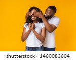 happy couple playing hide and... | Shutterstock . vector #1460083604